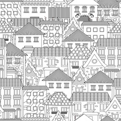 seamless texture with cozy cityscape for coloring book