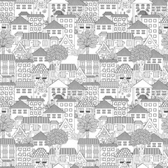 seamless texture with cute houses and trees for coloring book