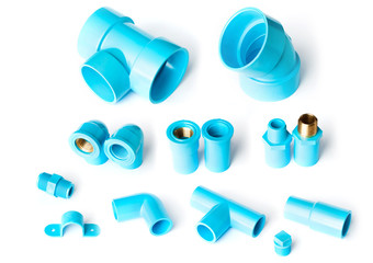 set collection of blue PVC fitting on white background