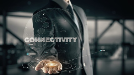 Connectivity with hologram businessman concept