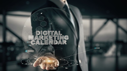 Digital Marketing Calendar with hologram businessman concept