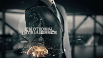 Emotional Intelligence with hologram businessman concept