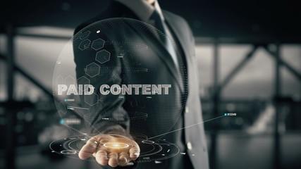 Paid Content with hologram businessman concept
