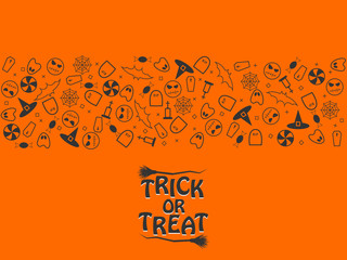 Trick or treat halloween purple and black elements in the form of strips on silver background. Vector illustration  EPS 10.