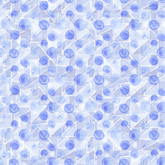 Seamless hand drawn watercolor pattern made of round blue dots, isolated over white.