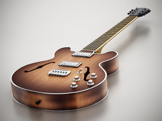 Vintage electric guitar standing on gray background. 3D illustration