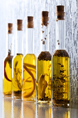 Olive oil with spices and herbs.