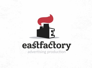 Modern vector professional sign logo east factory