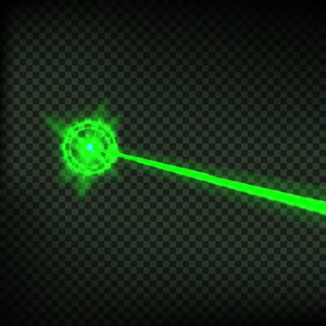 Abstract green laser beam. Laser security beam isolated on transparent background. Light ray with glow target flash. Vector illustration.