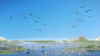 pterosaurs flock in flight over a scenic Jurassic Period landscape