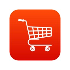 Shopping cart icon digital red