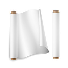 Baking Paper Roll Vector. Close Up Top View. Opened And Closed. Parchment For Baking Culinary. Realistic Illustration Isolated On White