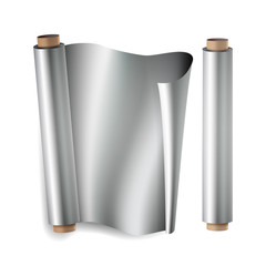 Metal Foil Paper Roll Vector. Close Up Top View. Opened And Closed. Realistic Illustration Isolated On White