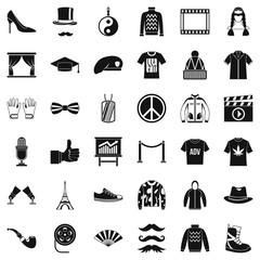 Fashion icons set, simple style