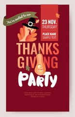 Invitation poster for thanksgiving dinner or party.  Cute template with turkey and pumpkin. Vector illustration