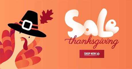 Thanksgiving day sale banner. Autumn background. Vector illustration