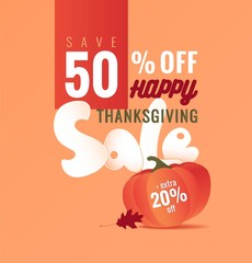Thanksgiving sale poster. Thanksgiving background with autumn leaves and pumpkin. Vector illustration