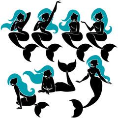 Mermaid Silhouette Set / Mermaid silhouette in 7 different poses.