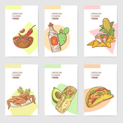 Mexican Food Hand Drawn Brochure Template Set. Mexico Traditional Cuisine Cards. Vector illustration