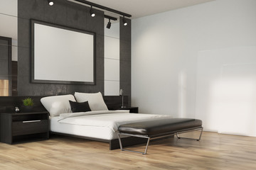 Gray loft bedroom, poster corner