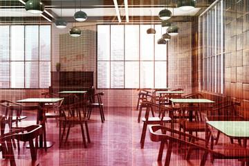 White brick cafe interior, window double