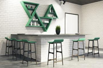 White bar interior corner, stand