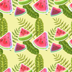 Watermelon Watercolor Seamless Pattern with Tropical Palm Leaves. Fruits Background. Vector illustration