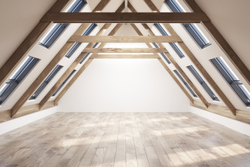 Empty attic room interior