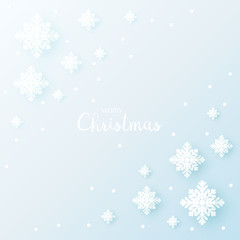 Paper snowflakes with shadow for winter background. Vector illustration.