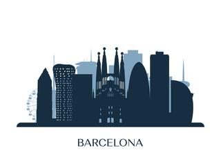 Barcelona skyline, monochrome silhouette. Vector illustration.