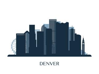 Denver skyline, monochrome silhouette. Vector illustration.