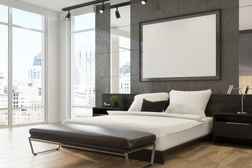 Gray upscale bedroom interior, poster
