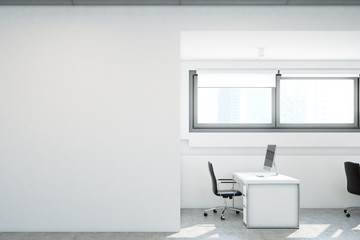 Open space office, a blank white wall