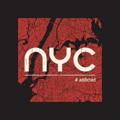 New York addicted t-shirt and apparel vector design, print, typography, poster, emblem.