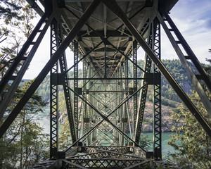 Abstract Angle of Bridge Rafters at Deception Pass Washington