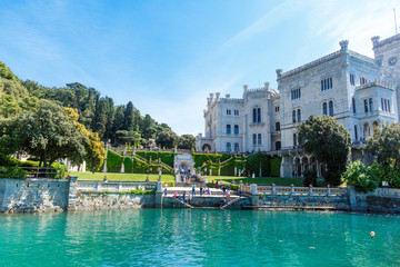 View on Miramare castle in Italy