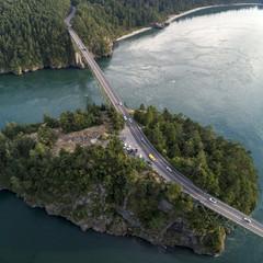Deception Pass Bridge Aerial of Tourist Lookout Island