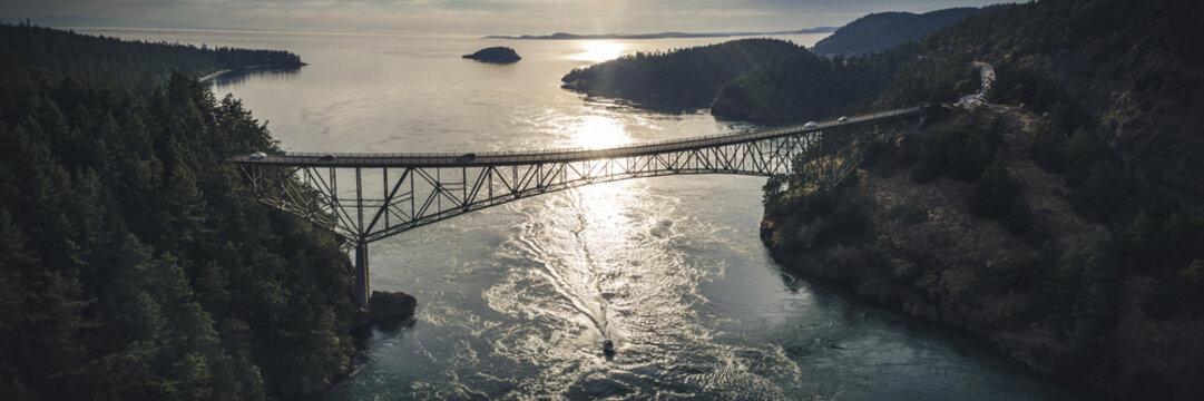 Stylized Fisheye Panorama of Deception Pass Bridge at Golden Hour