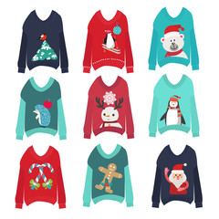 cute ugly christmas sweaters set sweater party collection
