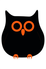 Black and orange halloween cartoon owl / Black and orange cartoon owl vector illustration isolated on a white background halloween concept