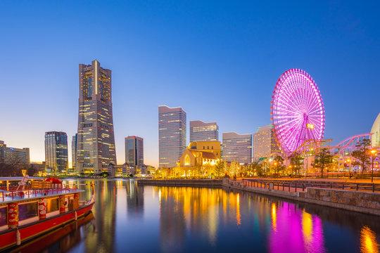 Yokohama cityscape in Japan at night