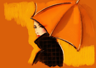 Wall Mural - woman with umbrella. fashion illustration