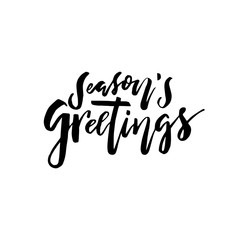 Merry Christmas card with calligraphy Seasons Greetings. Template for Congratulations, Housewarming posters, Invitations, Photo overlays. Vector illustration