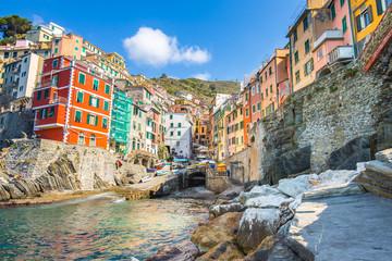 Wall Mural - Riomaggiore village one of Cinque Terre in the province of La Spezia, Italy