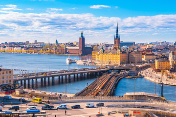 Ariel view of Stockholm city skyline in Sweden