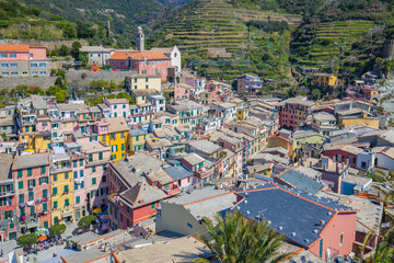 Wall Mural - Ariel view of Vernazza one of Cinque Terre in Italy.