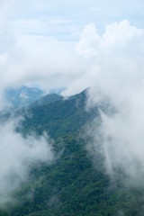 View of mist cover the mountaintop at Nan, Thailand