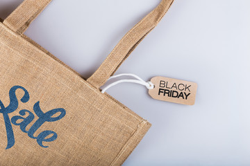 tag with the inscription black Friday on the background of the bag
