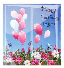 Birthday greeting card with ballonns and  flowers on blue sky
