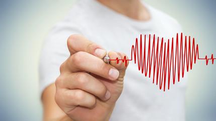 Businessman drawing a heart beat sketch